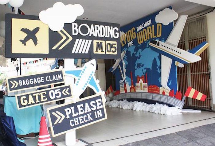 Entrance Sign from an Airplane Birthday Party via Kara's Party Ideas | KarasPartyIdeas.com (6)