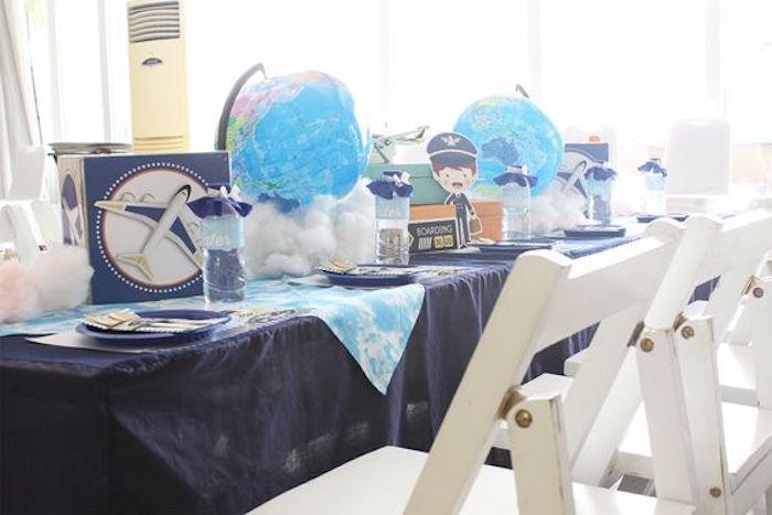 Guest Tablescape from an Airplane Birthday Party via Kara's Party Ideas | KarasPartyIdeas.com (4)