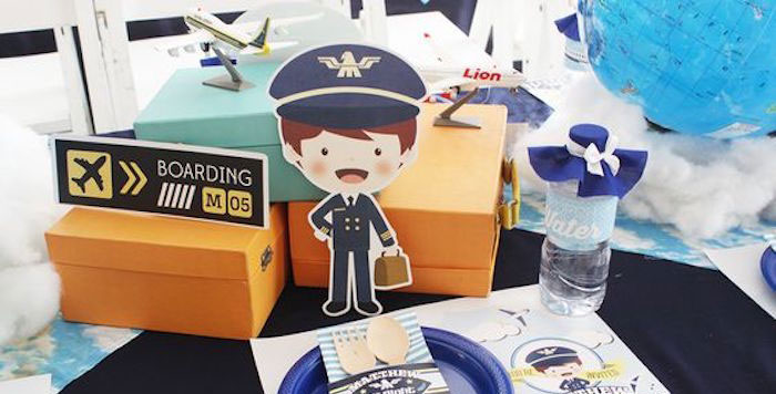 Table Decor from an Airplane Birthday Party via Kara's Party Ideas | KarasPartyIdeas.com (1)