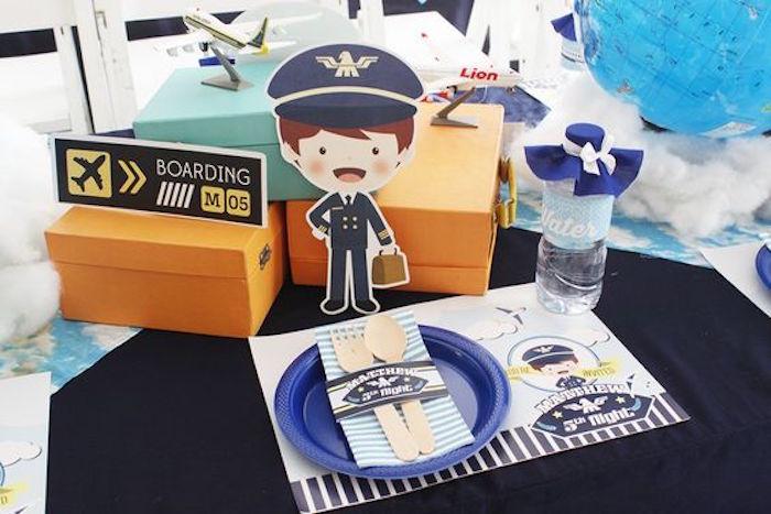 Place Setting + Table Decor from an Airplane Birthday Party via Kara's Party Ideas | KarasPartyIdeas.com (13)
