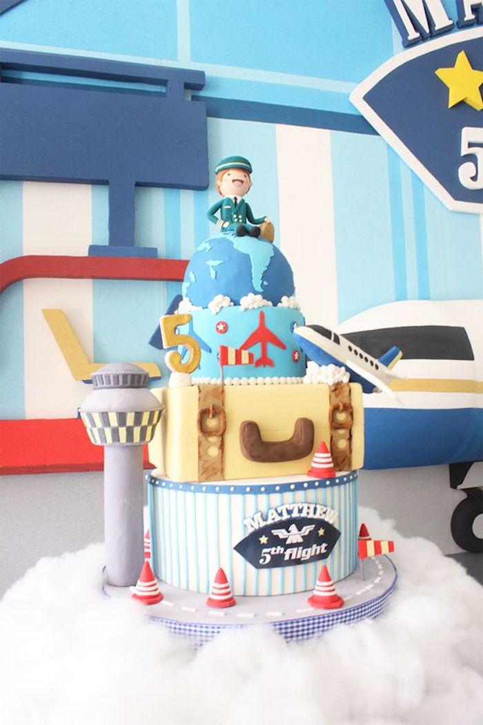 Airplane themed birthday decor image inspiration of cake for Airplane decoration