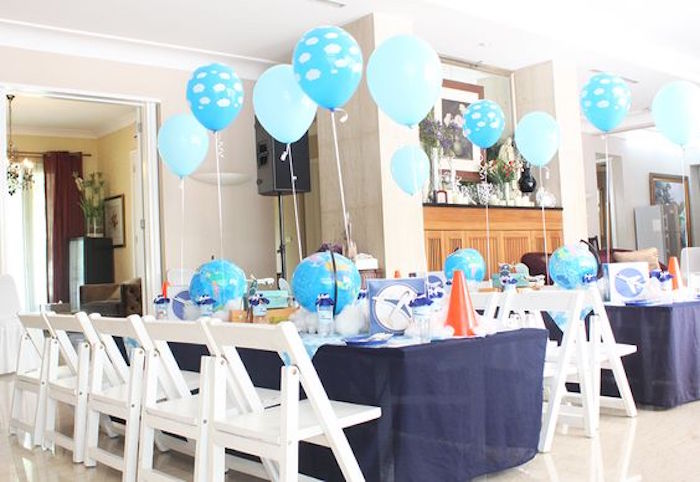 Guest Tables from an Airplane Birthday Party via Kara's Party Ideas | KarasPartyIdeas.com (10)