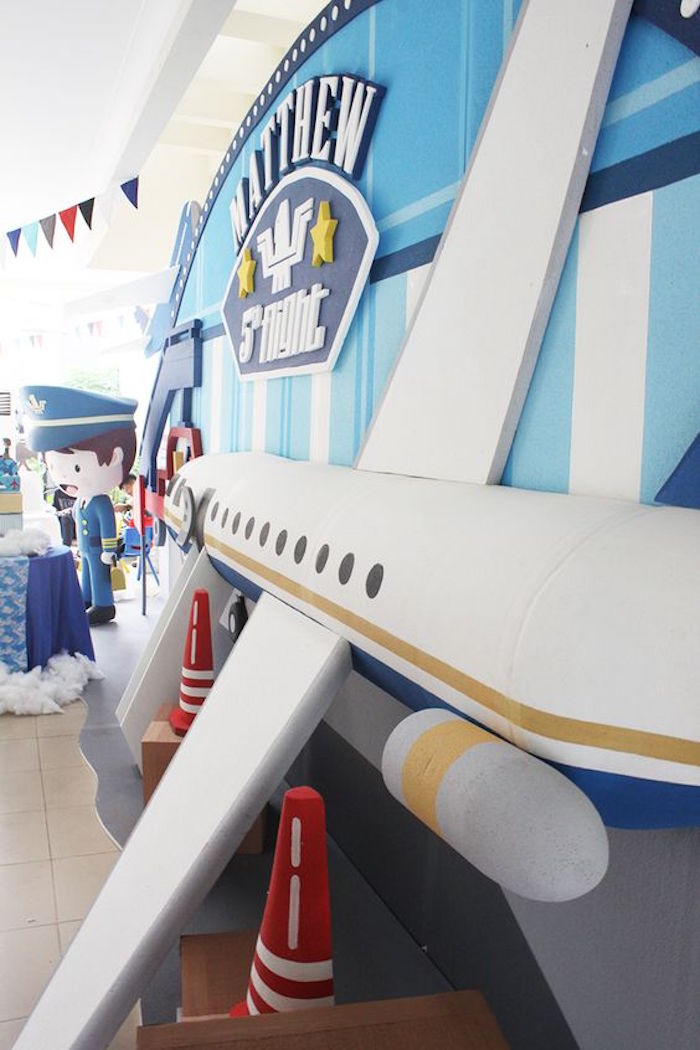 Airplane Backdrop from an Airplane Birthday Party via Karas Party ...