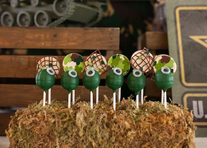 Cake Pops from an Army Themed Birthday Party via Kara's Party Ideas | KarasPartyIdeas.com (18)