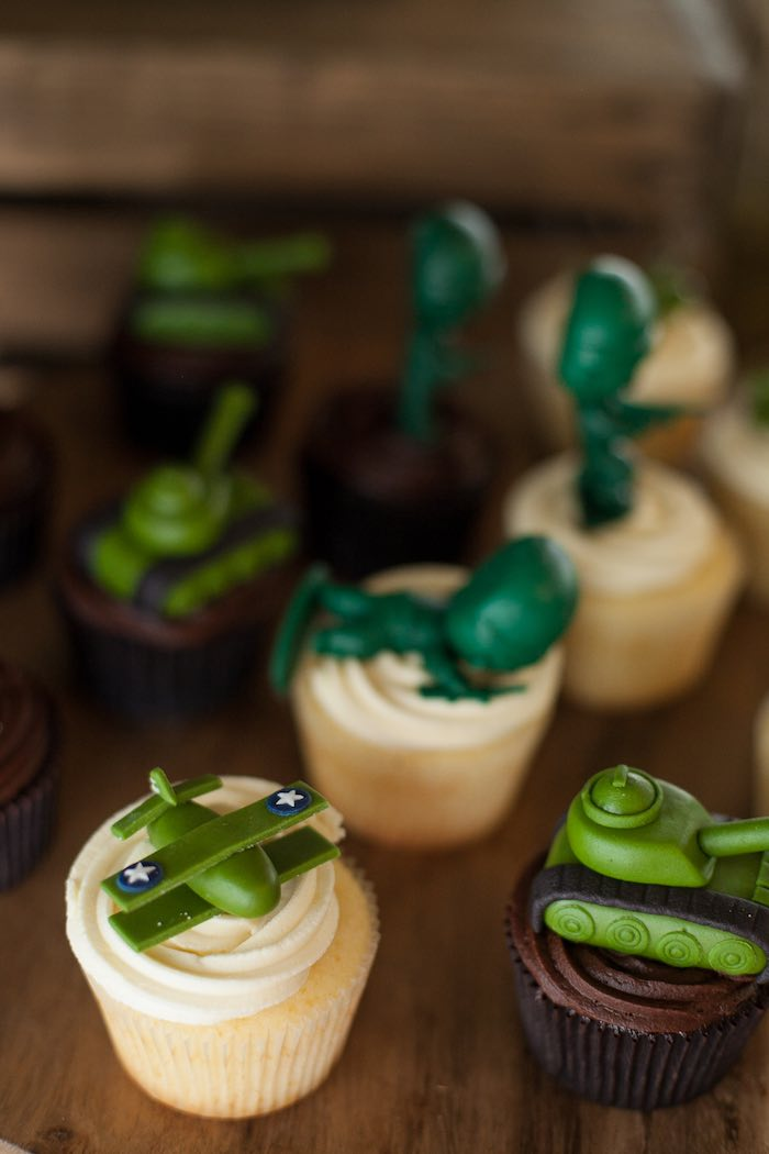 Cupcakes from an Army Themed Birthday Party via Kara's Party Ideas | KarasPartyIdeas.com (15)