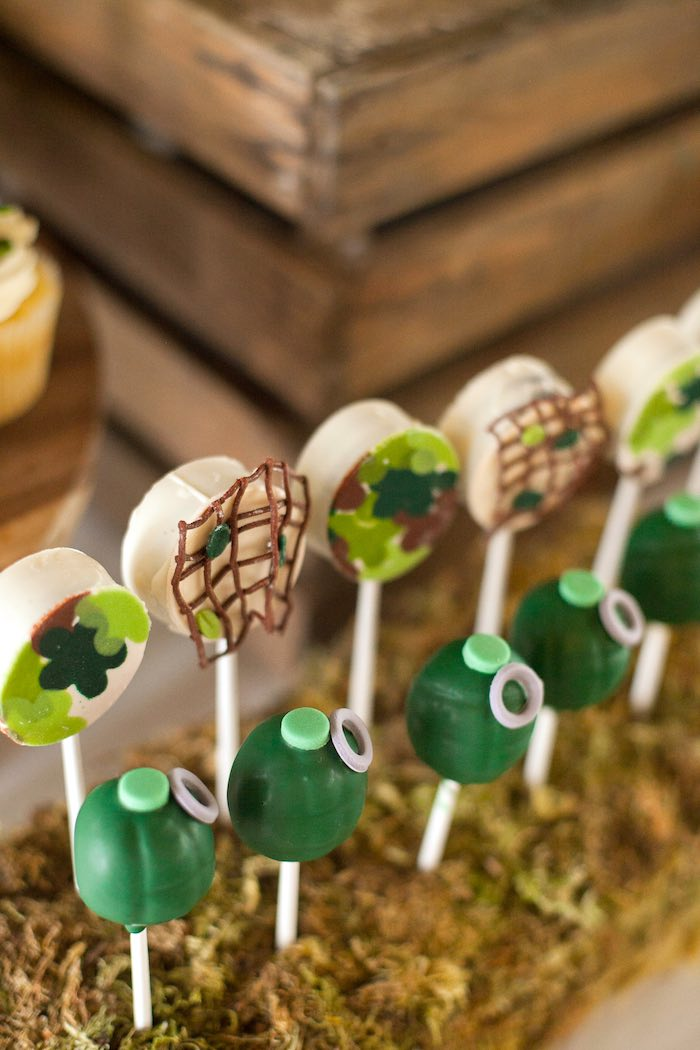 Cake Pops from an Army Themed Birthday Party via Kara's Party Ideas | KarasPartyIdeas.com (12)
