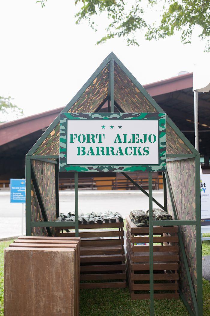 Barracks from an Army Themed Birthday Party via Kara's Party Ideas   KarasPartyIdeas.com (5)