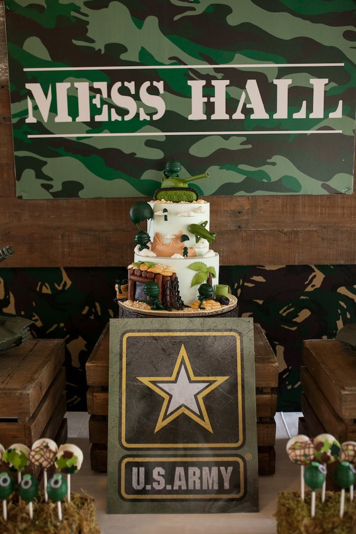 Cake Table from an Army Themed Birthday Party via Kara's Party Ideas | KarasPartyIdeas.com (21)
