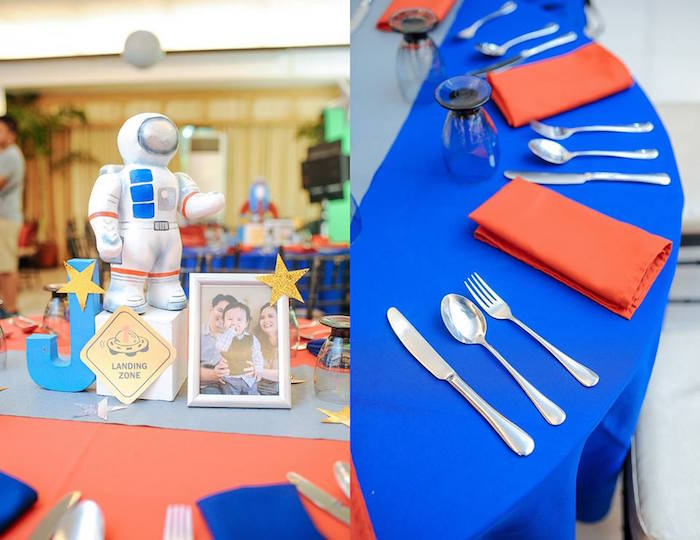 Guest Table from an Astronaut + Rocket Ship Birthday Party via Kara's Party Ideas KarasPartyIdeas.com (9)