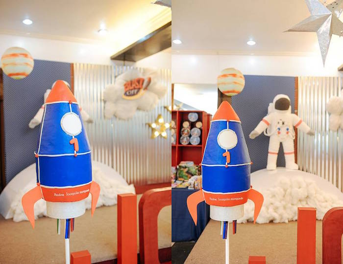 Rocket Ship Decor Piece from an Astronaut + Rocket Ship Birthday Party via Kara's Party Ideas KarasPartyIdeas.com (6)