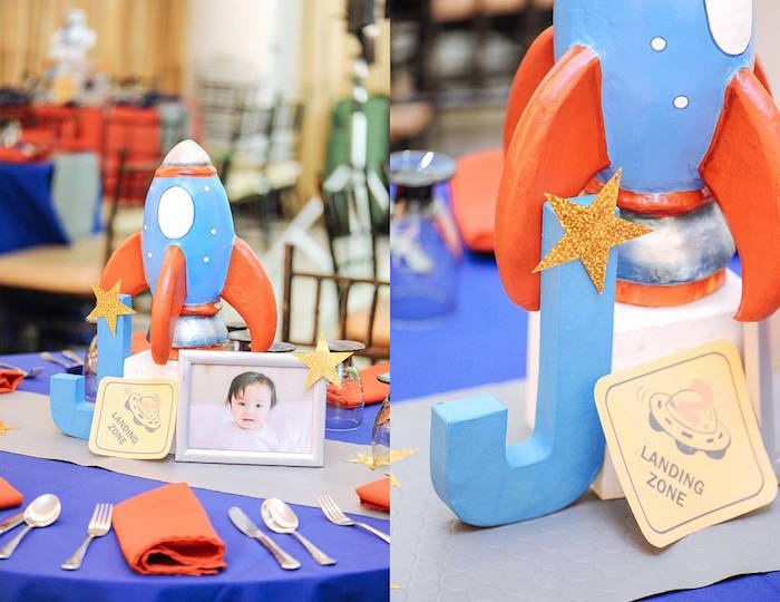 Centerpieces from an Astronaut + Rocket Ship Birthday Party via Kara's Party Ideas KarasPartyIdeas.com (4)