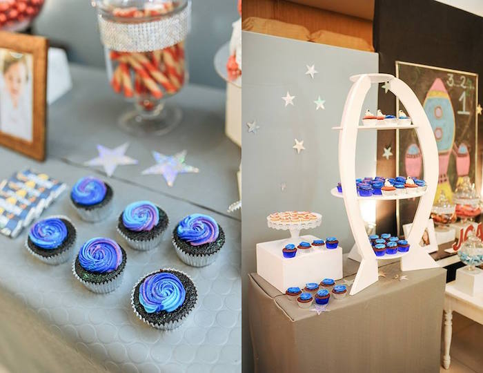 Cupcakes + Sweet Table from an Astronaut + Rocket Ship Birthday Party via Kara's Party Ideas KarasPartyIdeas.com (18)