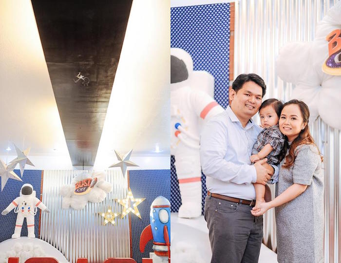 Backdrop + Birthday Boy + Parents from an Astronaut + Rocket Ship Birthday Party via Kara's Party Ideas KarasPartyIdeas.com (12)