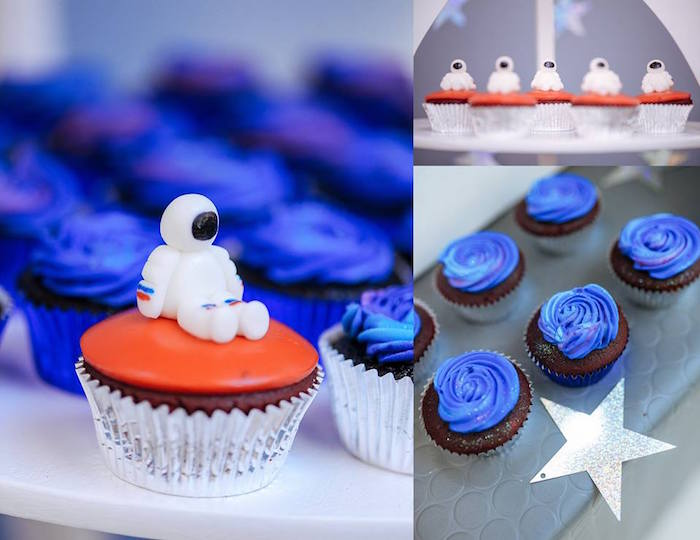 Cupcakes from an Astronaut + Rocket Ship Birthday Party via Kara's Party Ideas KarasPartyIdeas.com (11)