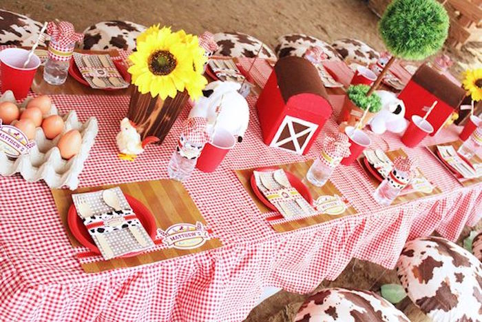 Dining Table from a Barnyard Birthday Party via Kara's Party Ideas KarasPartyIdeas.com (6)