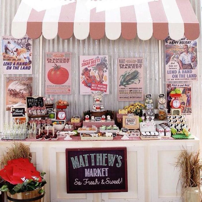 Sweet Table Market Stand from a Barnyard Birthday Party via Kara's Party Ideas KarasPartyIdeas.com (21)