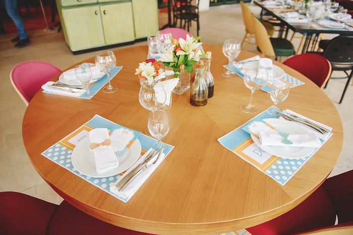 Guest Tabletop from a Bow Tie Birthday Party via Kara's Party Ideas | KarasPartyIdeas.com (23)