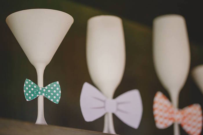 Bow Tie adorned Glasses from a Bow Tie Birthday Party via Kara's Party Ideas | KarasPartyIdeas.com (16)