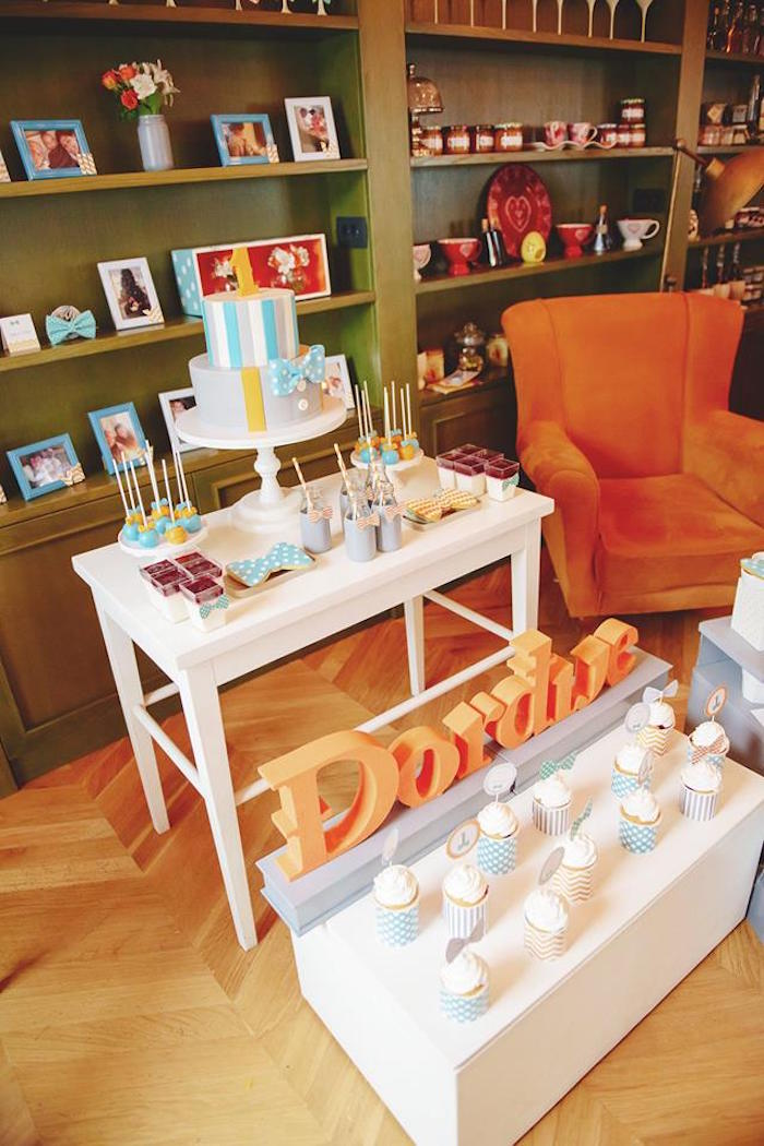 Sweet Table from a Bow Tie Birthday Party via Kara's Party Ideas | KarasPartyIdeas.com (34)