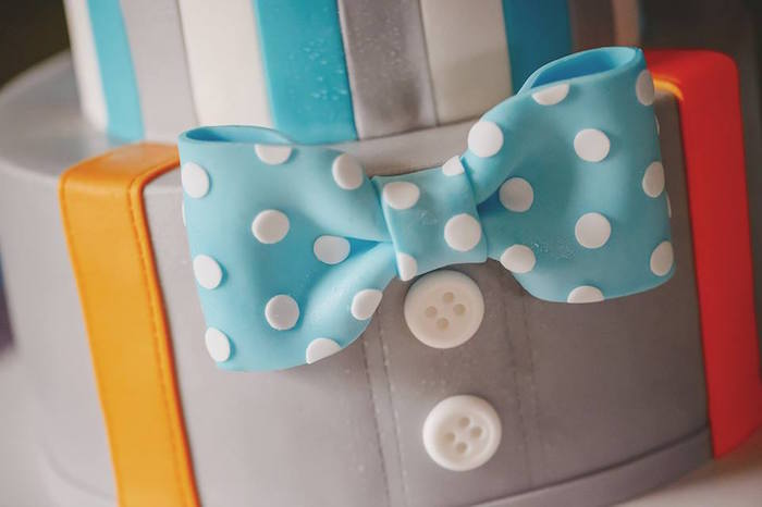 Cake Detail from a Bow Tie Birthday Party via Kara's Party Ideas | KarasPartyIdeas.com (13)