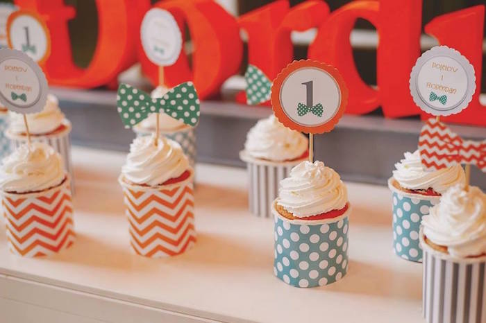 Cupcakes from a Bow Tie Birthday Party via Kara's Party Ideas | KarasPartyIdeas.com (9)