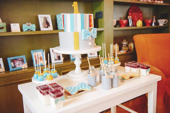 Sweet Table from a Bow Tie Birthday Party via Kara's Party Ideas | KarasPartyIdeas.com (8)