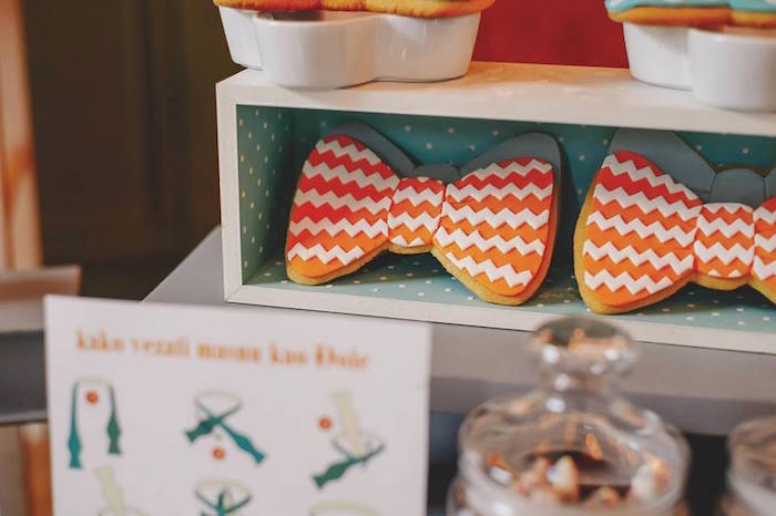 Bow Tie Cookie from a Bow Tie Birthday Party via Kara's Party Ideas | KarasPartyIdeas.com (5)