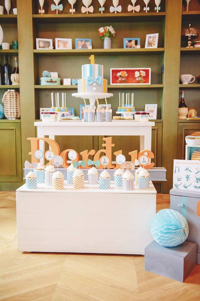 Sweet Table from a Bow Tie Birthday Party via Kara's Party Ideas | KarasPartyIdeas.com (3)