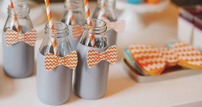 Drink Bottles from a Bow Tie Birthday Party via Kara's Party Ideas | KarasPartyIdeas.com (2)