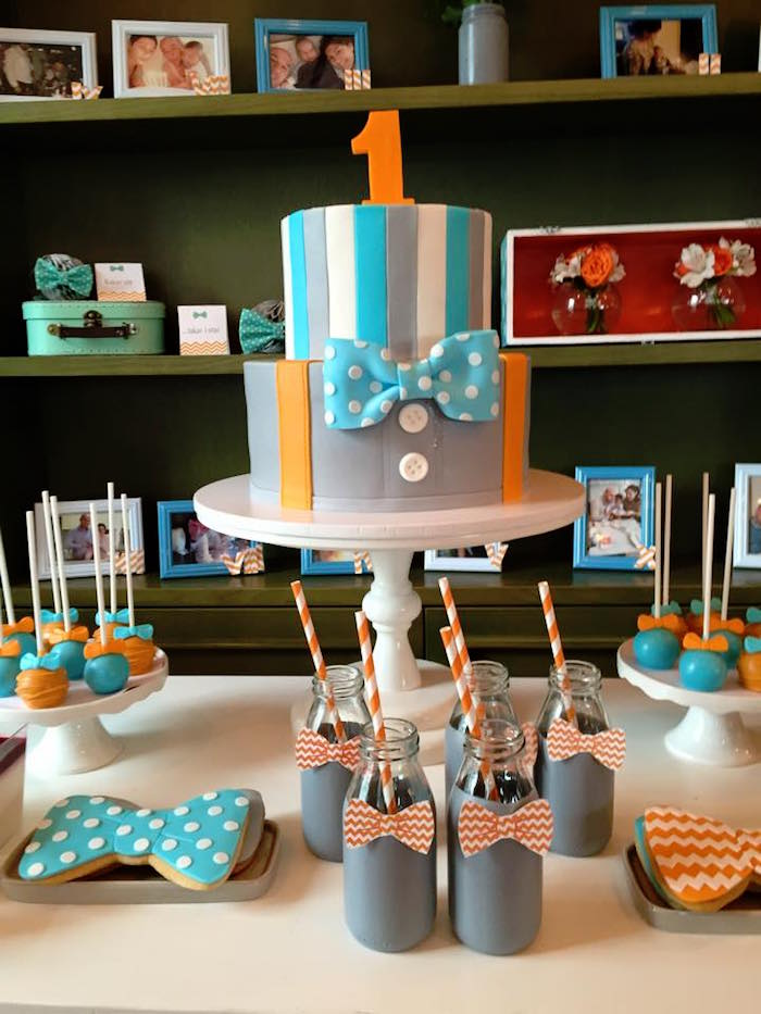 Cake Table from a Bow Tie Birthday Party via Kara's Party Ideas | KarasPartyIdeas.com (1)