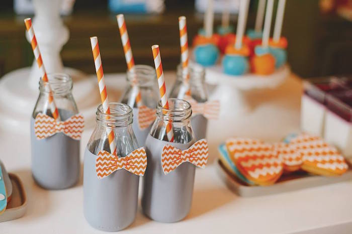 Drink Bottles from a Bow Tie Birthday Party via Kara's Party Ideas | KarasPartyIdeas.com (29)