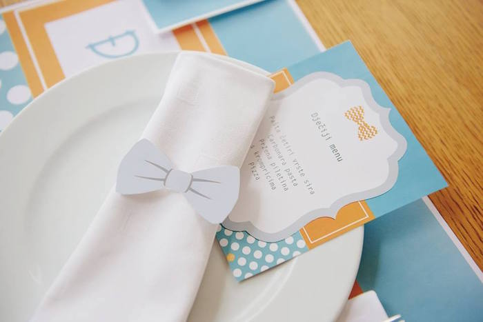 Napkin + Menu from a Bow Tie Birthday Party via Kara's Party Ideas | KarasPartyIdeas.com (28)