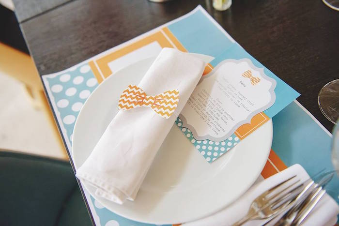 Place Setting from a Bow Tie Birthday Party via Kara's Party Ideas | KarasPartyIdeas.com (27)