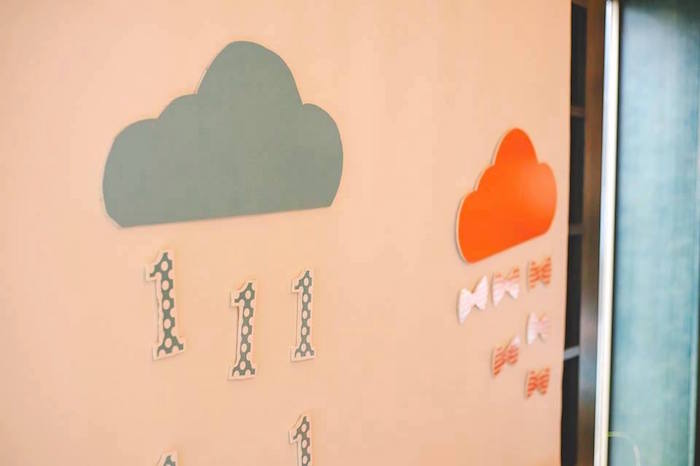 Cloud Decor from a Bow Tie Birthday Party via Kara's Party Ideas | KarasPartyIdeas.com (26)