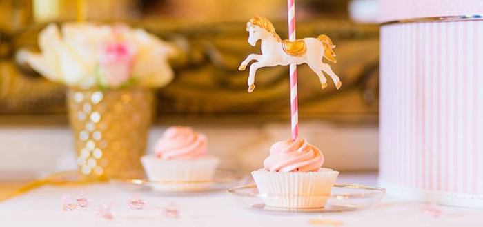 Cupcake from a Carousel Baby Shower via Kara's Party Ideas | KarasPartyIdeas.com The Place for All Things Party! (1)