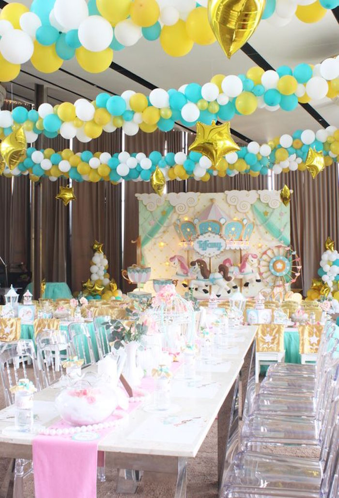 Partyscape + Dining Table from a Carousel Birthday Party via Kara's Party Ideas | KarasPartyIdeas.com (7)