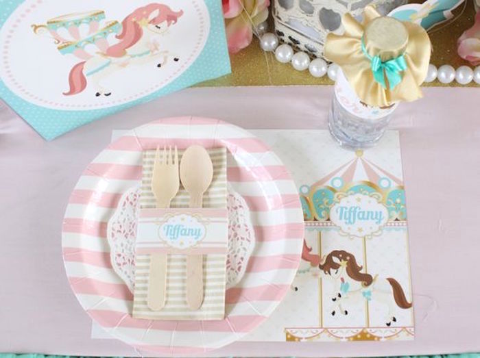 Place Setting from a Carousel Birthday Party via Kara's Party Ideas | KarasPartyIdeas.com (6)