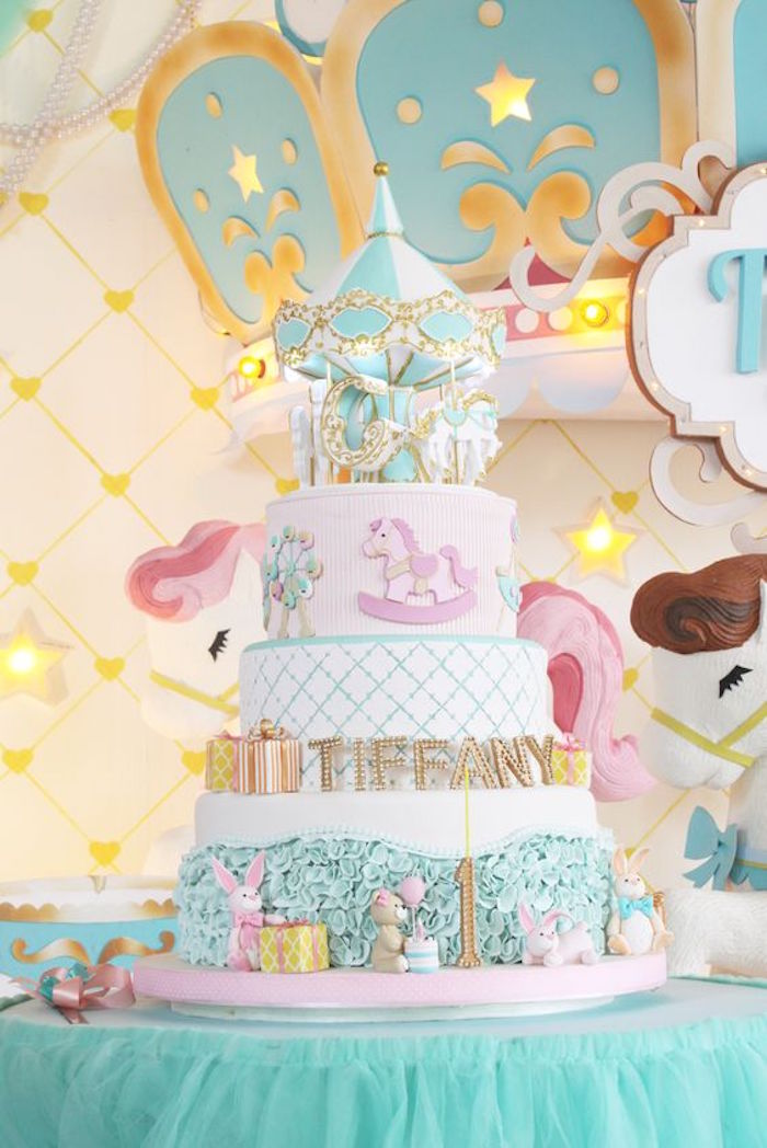Cake from a Carousel Birthday Party via Kara's Party Ideas | KarasPartyIdeas.com (5)