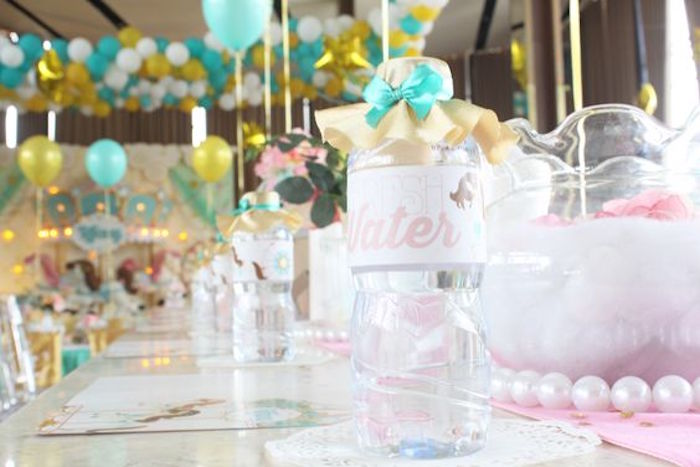 Water Bottle + Dining Tablescape from a Carousel Birthday Party via Kara's Party Ideas | KarasPartyIdeas.com (3)