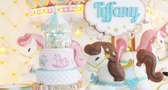 Cake + Backdrop from a Carousel Birthday Party via Kara's Party Ideas | KarasPartyIdeas.com (1)