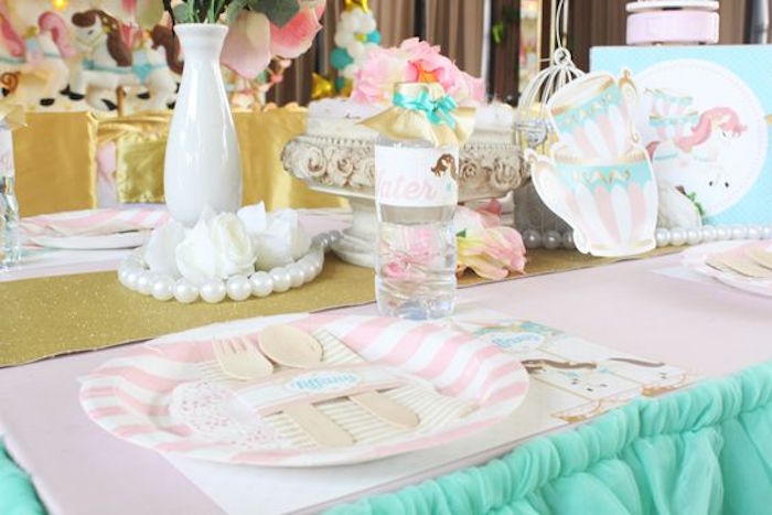 Guest Table Details from a Carousel Birthday Party via Kara's Party Ideas | KarasPartyIdeas.com (15)