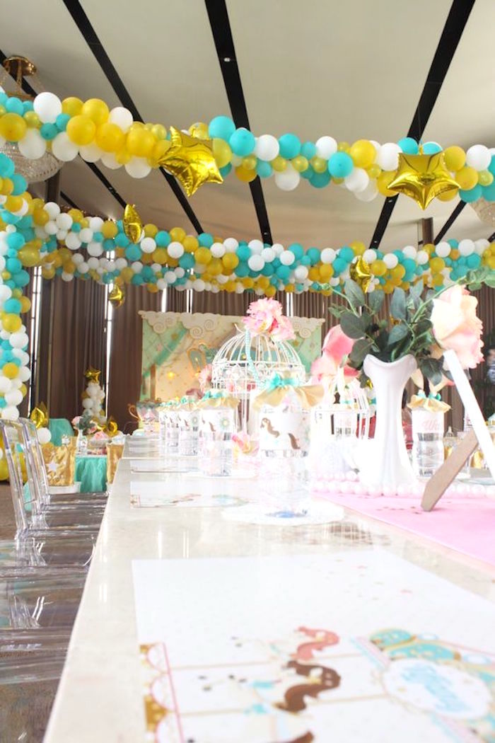 Guest Tablescape from a Carousel Birthday Party via Kara's Party Ideas | KarasPartyIdeas.com (14)