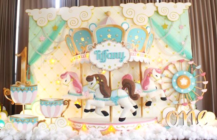 Backdrop from a Carousel Birthday Party via Kara's Party Ideas | KarasPartyIdeas.com (11)