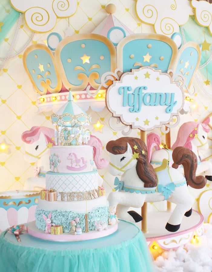 Cake Table from a Carousel Birthday Party via Kara's Party Ideas | KarasPartyIdeas.com (10)