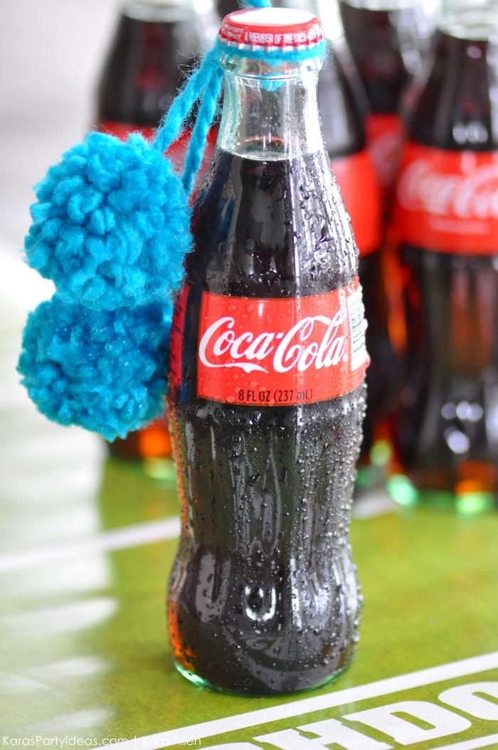 Cheerleader pom pom Coke bottle drinks for the big football game via Kara's Party Ideas | Kara Allen #homebowlherocontest #homebowlhero 8