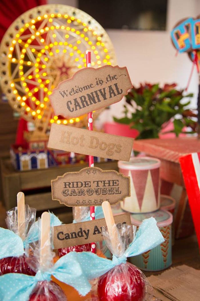 mini table sign from a circus carnival baby shower via kara 39 s party