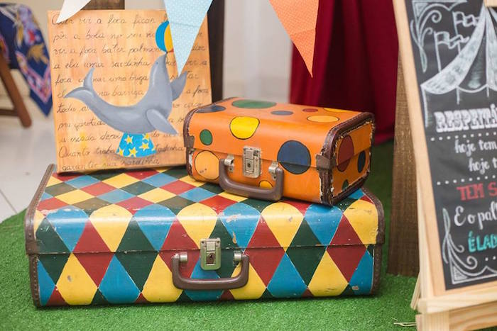 Suitcases from a Circus Carnival Baby Shower via Kara's Party Ideas KarasPartyIdeas.com (25)