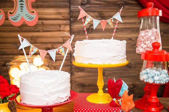 cakes from a circus carnival baby shower via kara 39 s party ideas