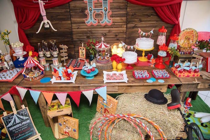 Dessert Table from a Circus Carnival Baby Shower via Kara's Party Ideas KarasPartyIdeas.com (11)