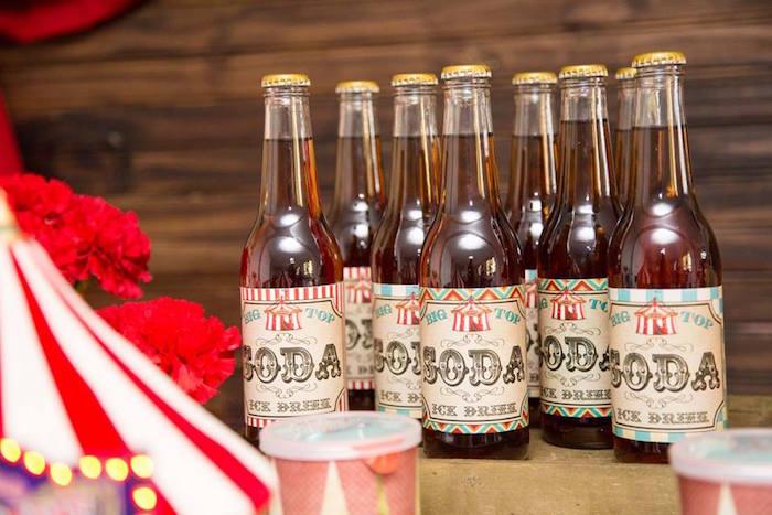 Soda from a Circus Carnival Baby Shower via Kara's Party Ideas KarasPartyIdeas.com (7)